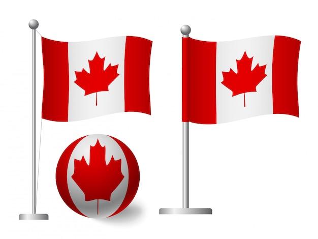 Bandeira do canadá no ícone pólo e bola