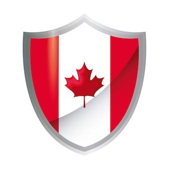 Bandeira do canadá patriótica em forma de escudo