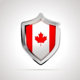 Bandeira do canadá projetada como um escudo brilhante isolado