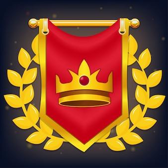 Bandeira do cavaleiro vermelho com coroa e louro