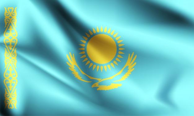 Bandeira do cazaquistão acenando