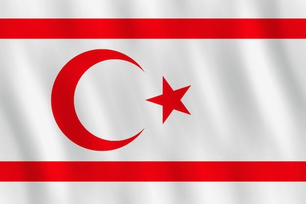 Bandeira do chipre do norte com efeito de ondulação, proporção oficial.