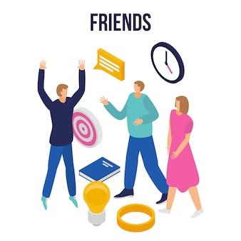 Bandeira do conceito de amigos modernos, estilo isométrico