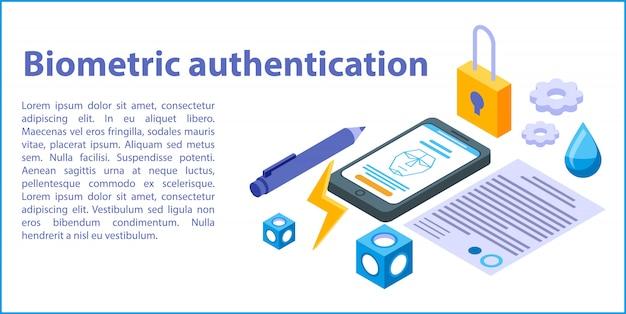 Bandeira do conceito de autenticação biométrica