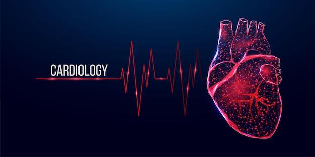 Bandeira do conceito de cardiologia. coração vermelho de estilo poli baixo em estrutura de arame. ilustração em vetor 3d moderna abstrata em fundo azul escuro.