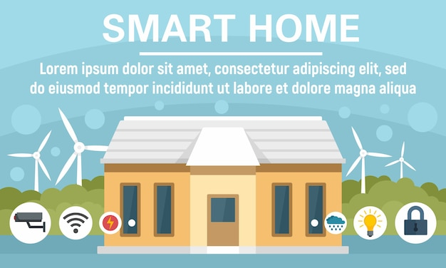 Bandeira do conceito de casa inteligente de eco