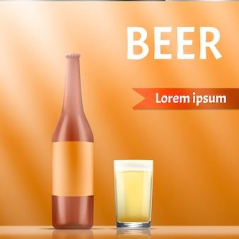Bandeira do conceito de cerveja, estilo realista