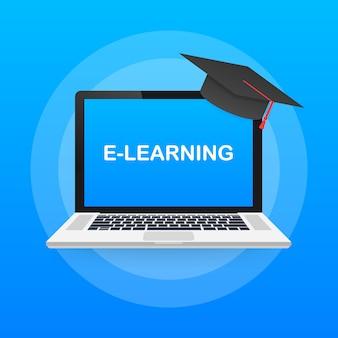 Bandeira do conceito de educação on-line. cursos de treinamento online. tutoriais, e aprendizagem ..
