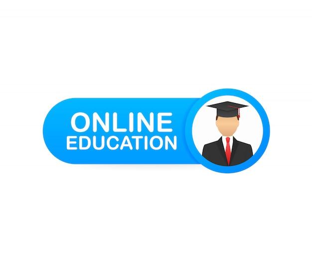 Bandeira do conceito de educação on-line. cursos de treinamento online.