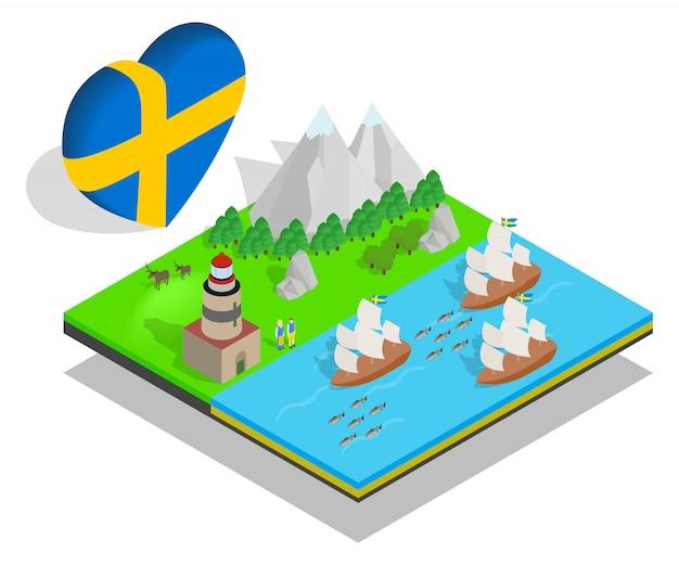 Bandeira do conceito de finlândia, estilo isométrico