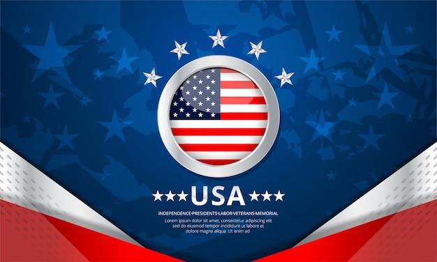 Bandeira do conceito de fundo eua para independência, veteranos, trabalho, memorial day e outros e