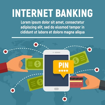 Bandeira do conceito de internet banking