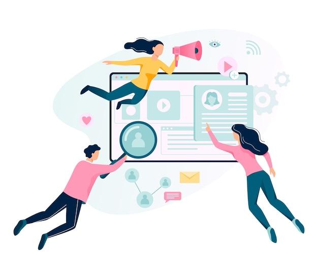 Bandeira do conceito de marketing digital. rede social e comunicação de mídia. seo, sem e promoção online. ilustração em grande estilo Vetor Premium
