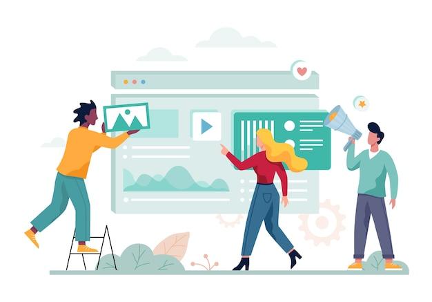 Bandeira do conceito de marketing digital. rede social e mídia