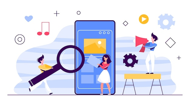 Bandeira do conceito de marketing digital. rede social, mídia