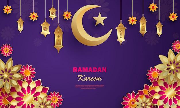Bandeira do conceito de ramadan kareem com padrões geométricos islâmicos.