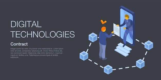 Bandeira do conceito de tecnologias digitais, estilo isométrico