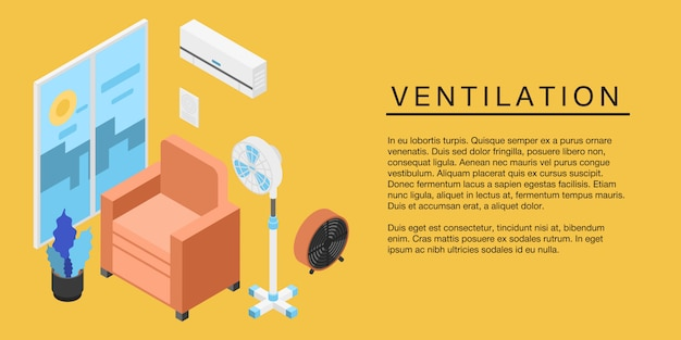 Bandeira do conceito de ventilação em casa, estilo isométrico