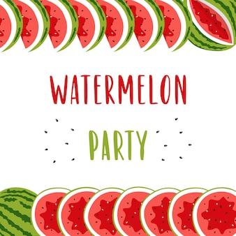 Bandeira do convite para a festa de verão com melancia bonito.