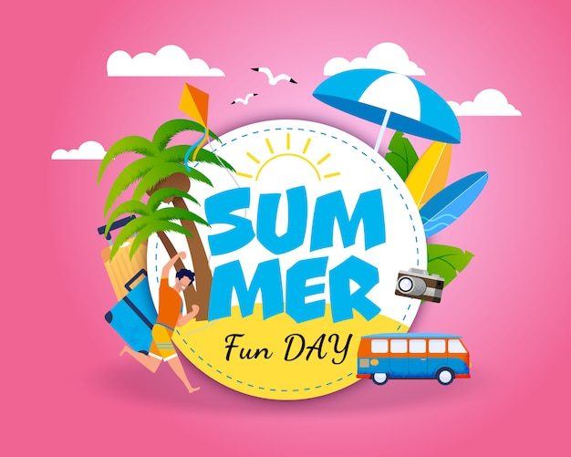 Bandeira do convite que motiva para o curso. letras de dia de diversão de verão em círculo sobre céu rosa