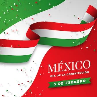 Bandeira do dia da constituição mexicana gradiente