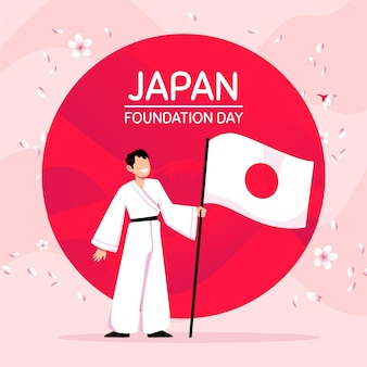 Bandeira do dia da fundação com ilustração desenhada à mão
