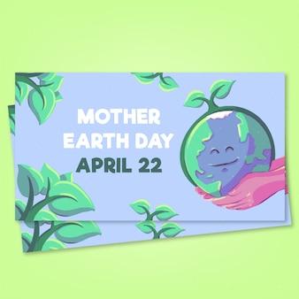 Bandeira do dia da mãe terra aquarela
