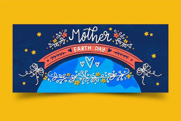 Bandeira do dia da mãe terra desenhados à mão