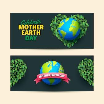 Bandeira do dia da mãe terra em design plano