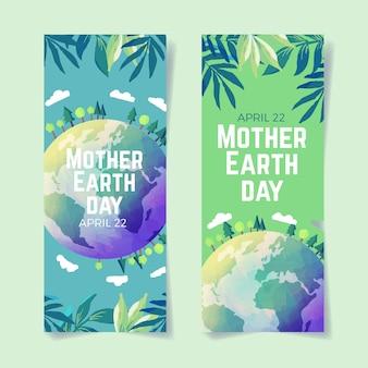 Bandeira do dia da mãe terra estilo aquarela