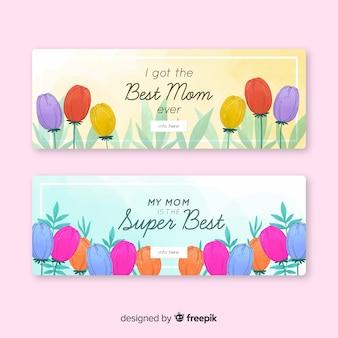 Bandeira do dia das mães de tulipas coloridas
