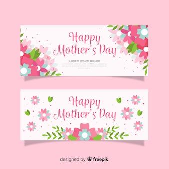 Bandeira do dia das mães plana floral