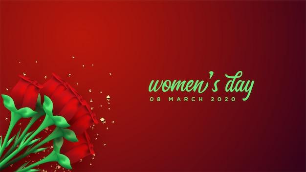 Bandeira do dia das mulheres com ilustração da rosa do vermelho 3d.