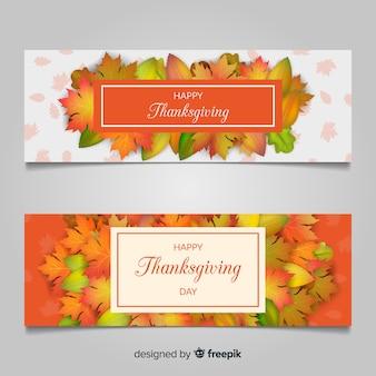 Bandeira do dia de ação de graças com elementos de outono