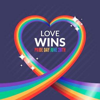 Bandeira do dia do orgulho com amor