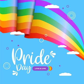 Bandeira do dia do orgulho com nuvens no fundo azul