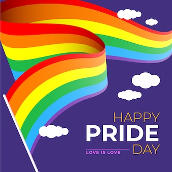 Bandeira do dia do orgulho com nuvens no fundo roxo