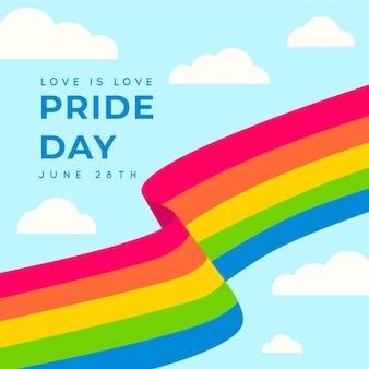 Bandeira do dia do orgulho do arco-íris e nuvens