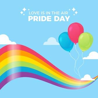 Bandeira do dia do orgulho e balões
