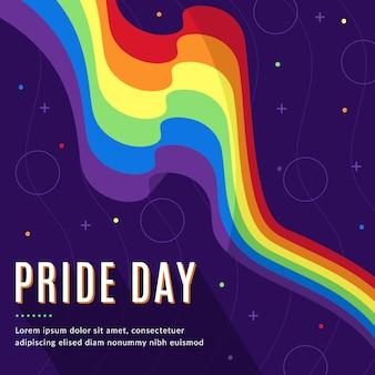 Bandeira do dia do orgulho mão desenhada design