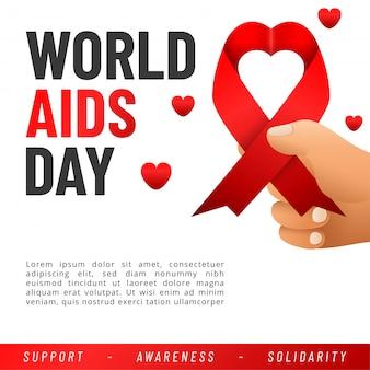 Bandeira do dia mundial da aids. auxilia a consciência fita vermelha.