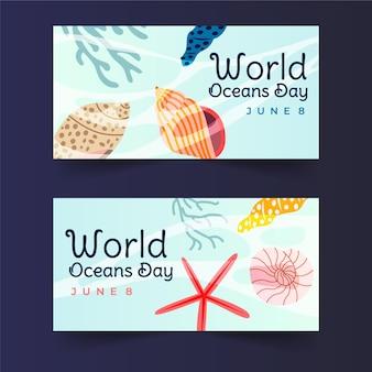 Bandeira do dia mundial do oceano mão desenhada