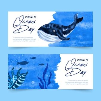 Bandeira do dia mundial dos oceanos em aquarela