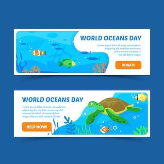Bandeira do dia mundial dos oceanos