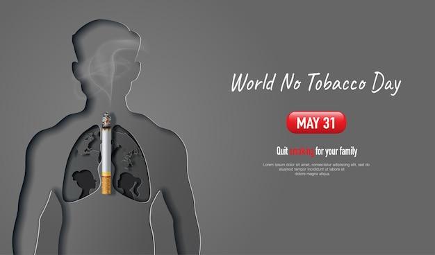Bandeira do dia mundial sem tabaco desenhando um homem com forma de pulmão