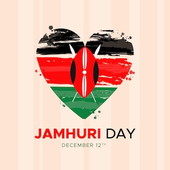 Bandeira do dia nacional do quênia jamhuri pintada à mão em um coração
