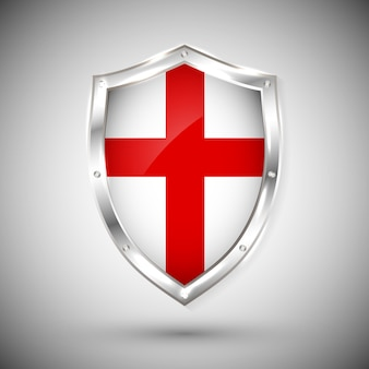 Bandeira do enfland no escudo de metal brilhante. coleção de sinalizadores no escudo contra fundo branco. objeto isolado abstrato.
