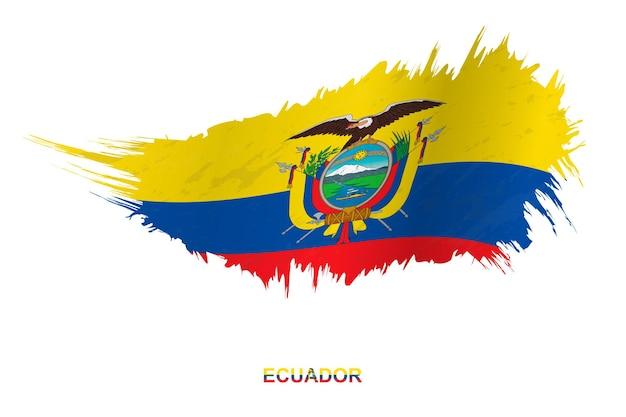 Bandeira do equador em estilo grunge com efeito de ondulação, bandeira de pincelada de vetor grunge.