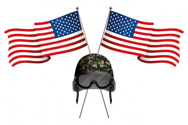 Bandeira do estado unida com capacete militar
