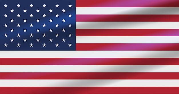 Bandeira do eua com estrelas brancas, listras vermelhas e azuis.